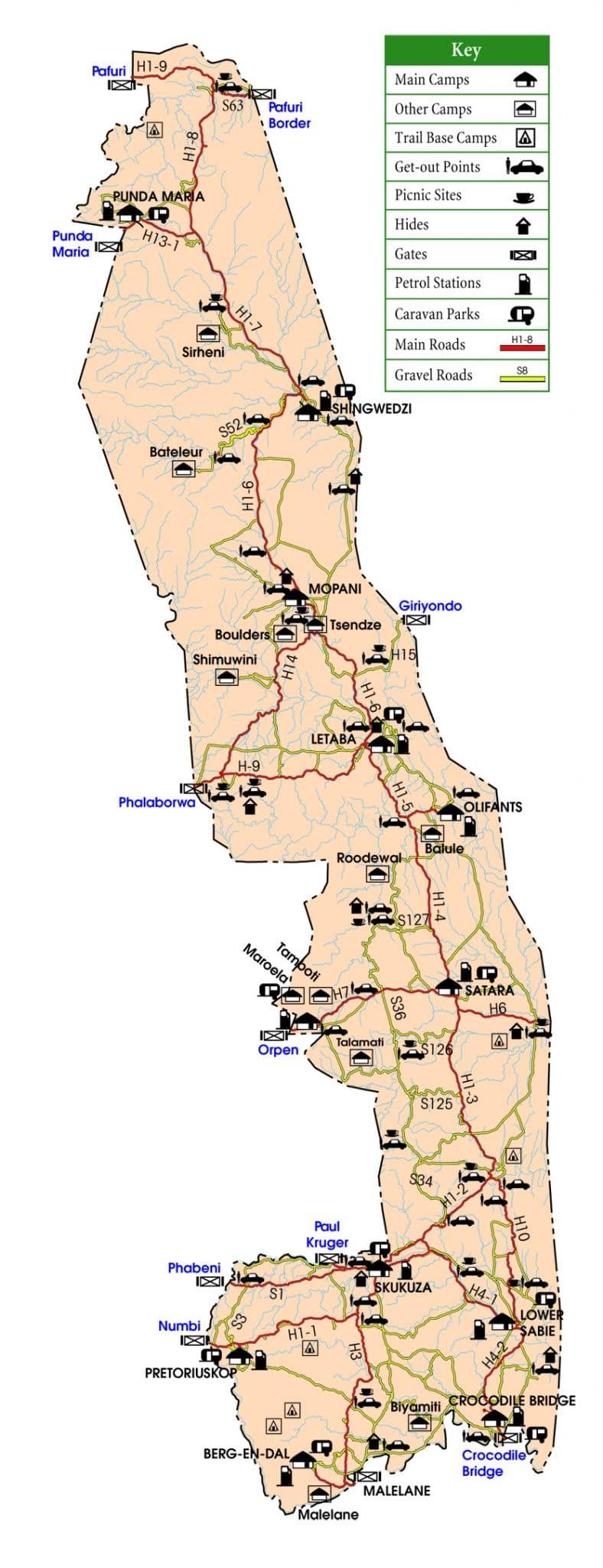 map kruger park