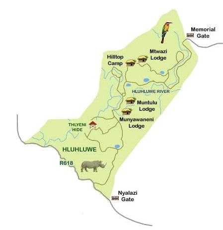 hluhluwe kwazulu natal map