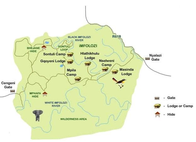 imfolozi kwazulu natal park map